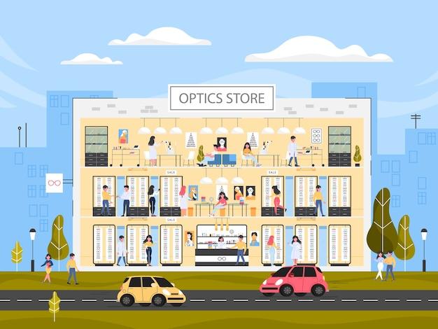 Interior del edificio de la tienda de óptica. anteojos para hombres y mujeres. mostrador, estanterías con vasos y tratamiento oftalmológico. la gente compra gafas nuevas. ilustración