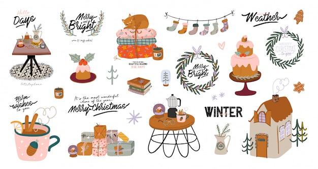Interior escandinavo con decoraciones para el hogar de diciembre: corona, gato, árbol, regalo, velas, mesa. acogedora temporada de vacaciones de invierno. linda ilustración y tipografía navideña en estilo hygge. . .