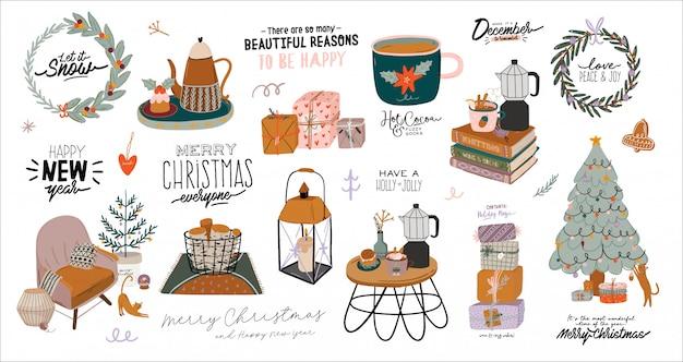Interior escandinavo con decoraciones para el hogar en diciembre. linda ilustración y tipografía de navidad en estilo hygge.