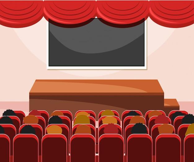 Interior del escenario con audiencia.