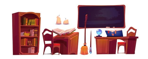 Interior de la escuela de magia con libro abierto de hechizos
