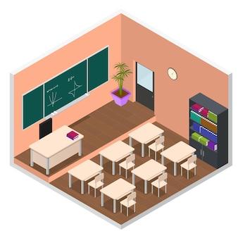 Interior de la escuela o aula universitaria con vista isométrica de muebles.