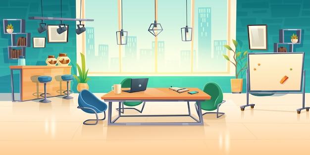 Interior del espacio de coworking, centro de negocios de oficina vacía con computadora en escritorios