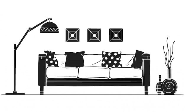 Interior en estilo escandinavo. parte de la sala de estar. dibujado a mano ilustración vectorial