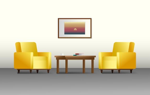 Interior con estilo. mobiliario para salón. ilustración