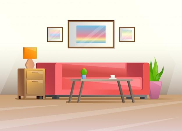 Interior en un estilo plano.