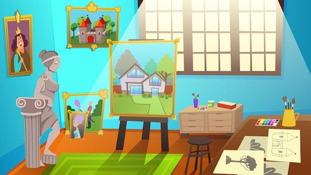 Interior del estudio de arte. sala de taller con lona