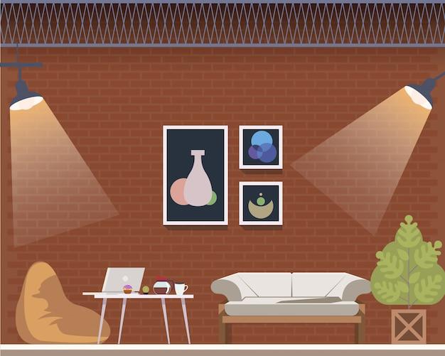 Interior del estudio creativo del centro espacial de coworking