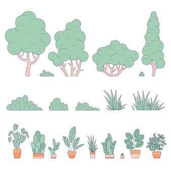 Interior y exterior, hogar y jardín paisajístico en macetas y plantas de tierra.