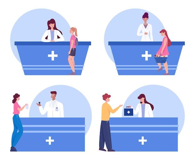 Interior de farmacia moderna con conjunto de visitantes. el cliente ordena y compra medicamentos y medicamentos. farmacéutico de pie en el mostrador con el uniforme. asistencia sanitaria y tratamiento médico.