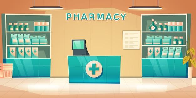 Interior de la farmacia con mostrador y medicamentos en los estantes
