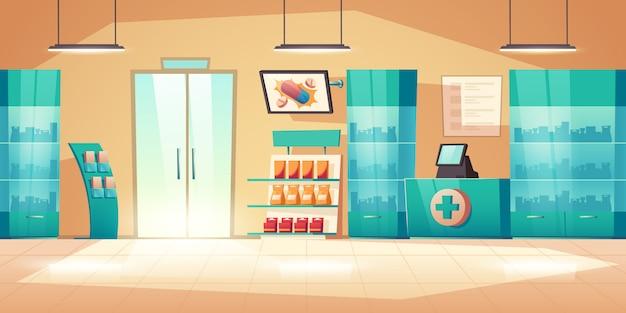 Interior de farmacia con mostrador, pastillas y medicamentos.