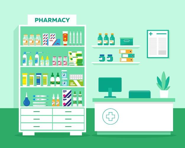 Interior de farmacia o clínica. tapadera y estantes con medicación, jeringa, termómetros y puesto de trabajo del farmacéutico.