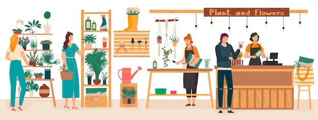 El interior de la floristería de flores y plantas con floristas cuida las plantas de interior, la mujer compra flores ilustración de dibujos animados.