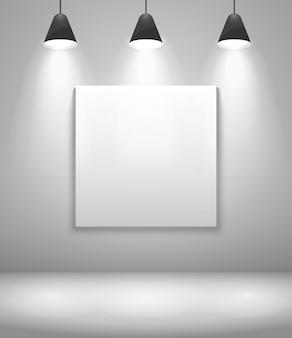 Interior de galería blanco con marco. pared y cuadro, exposición y en blanco. ilustración vectorial