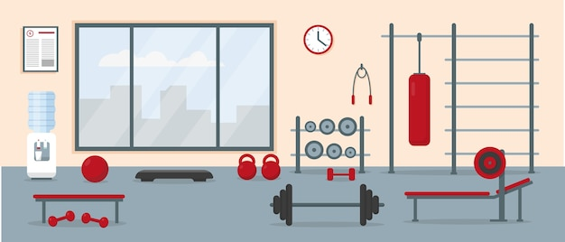 Interior de gimnasio con equipo de entrenamiento. área de entrenamiento del gimnasio. ilustración.