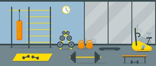 Interior de gimnasio con equipo de entrenamiento y espejo.