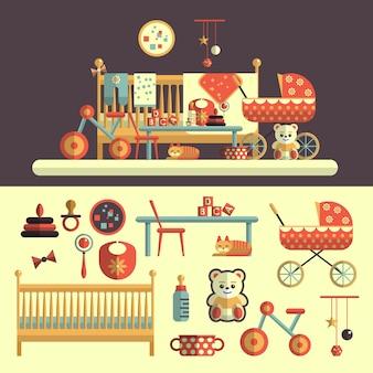 Interior de la habitación del bebé y conjunto de juguetes para niños. ilustración del vector en el diseño de estilo plano. elementos aislados