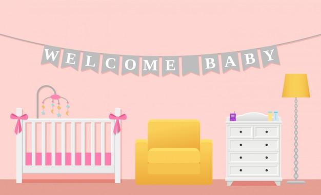 Interior de habitación de bebé niña,