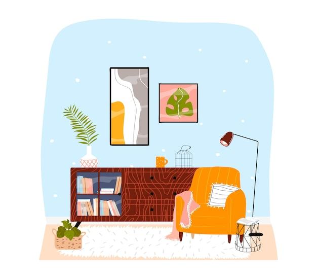Interior de la habitación en casa, cómodos muebles de sala de estar, diseño de apartamento moderno, ilustración de dibujos animados, aislado en blanco. librería con estilo, lámpara colorida y estilo sillón, cuadros en la pared.