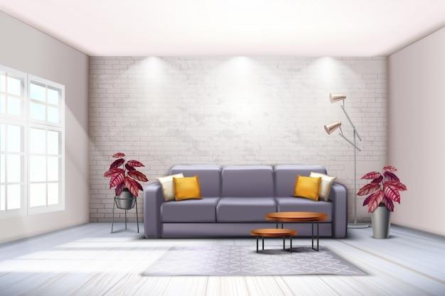 Interior de la habitación espaciosa con lámparas de pie de sofá y tonos decorativos de color púrpura hojas de plantas realistas