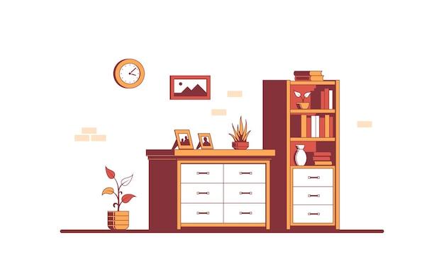 Interior de habitación de estilo plano con cómoda y estantería.