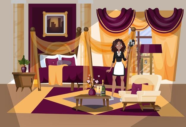 Interior de la habitación del hotel. mucama en uniforme limpieza