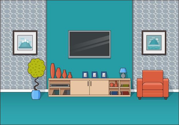 Interior de la habitación en línea plana de arte. ilustración.