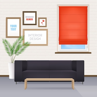 Interior de la habitación con muebles y persianas de la ventana