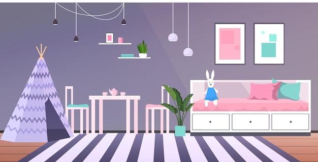 Interior de la habitación de los niños vacía sin gente dormitorio del bebé ilustración vectorial horizontal