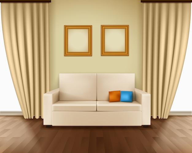 Interior de la habitación realista con lujoso cortina de la ventana sofá almohadas marcos