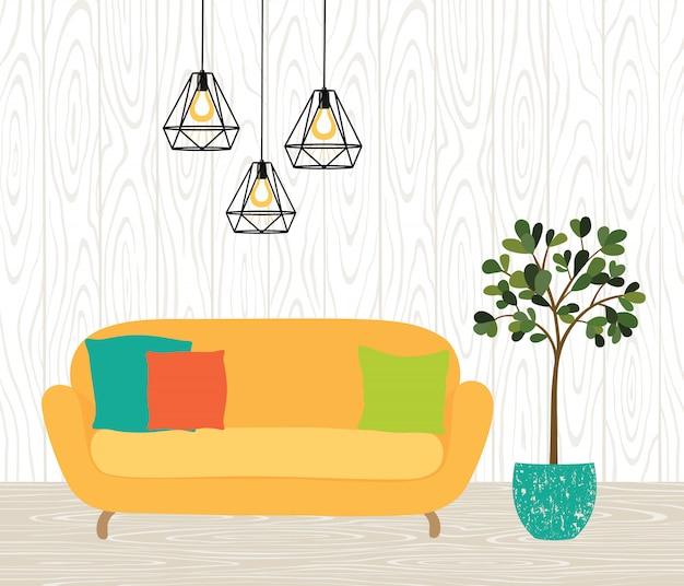 El interior de la habitación con un sofá amarillo, lámparas y una planta de interior. pared de ladrillo, piso de madera