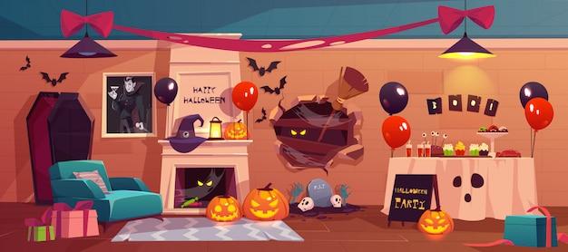 Interior de halloween para celebración de fiesta