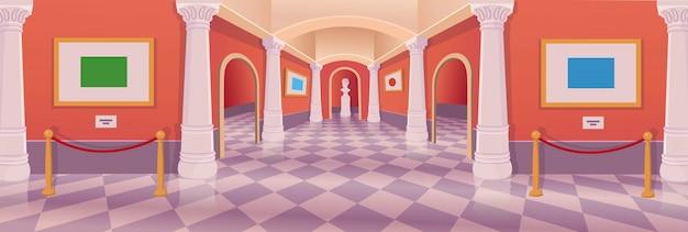 Interior de la historieta del vector de la galería de arte del pasillo del museo.