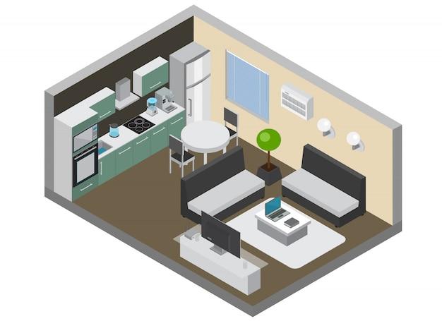 Interior del hogar con electrónica de consumo, así como aparatos de cocina, dispositivos inalámbricos para pc y tv, acondicionador y refrigerador isométrico