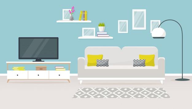 Interior de la ilustración de la sala de estar