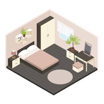 Interior isométrico 3d del dormitorio