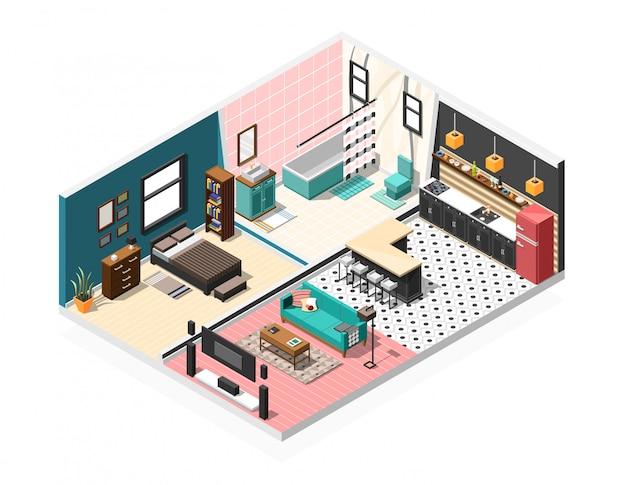 Interior isométrico del apartamento