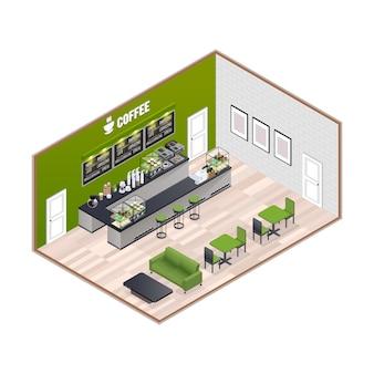 Interior isométrico de la casa de café