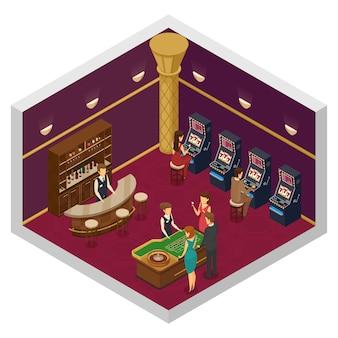 Interior isométrico de casino coloreado con sala grande con máquinas tragamonedas y mesa de juego