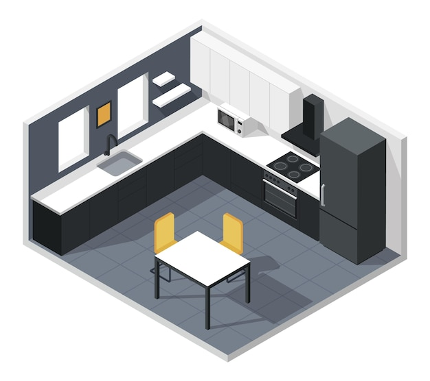 Interior isométrico de la cocina moderna con muebles, electrodomésticos, refrigerador, horno, microondas, mesa, silla