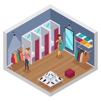 Interior isométrico coloreado de la tienda que intenta con paredes y tienda con vestidores.