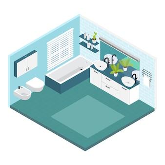 Interior isométrico de composición de baño en colores blanco y azul con baño y baño conjunto
