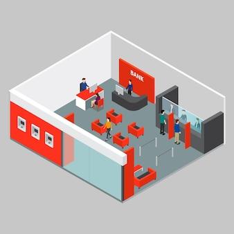 Interior isométrico ilustrado del banco
