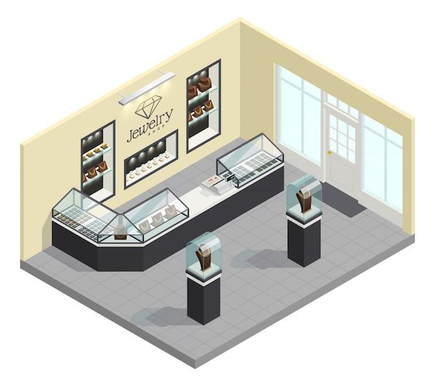 Interior isométrico de joyería con adornos femeninos en vitrinas de cristal sin vendedor ni compradores.