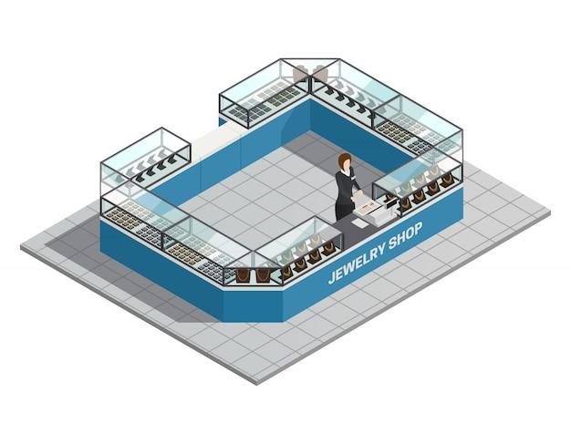 Interior isométrico de joyería con vendedor detrás de mostrador con productos preciosos para mujeres