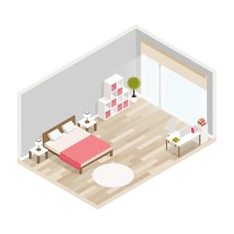Interior isométrico de lujo para el dormitorio con cama doble, mesas de noche y decoración.