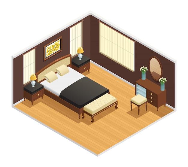 Interior isométrico de lujo para dormitorio con cama doble.