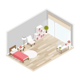 Interior isométrico de lujo para dormitorio con cama, mesas de noche, ventana y decoración.