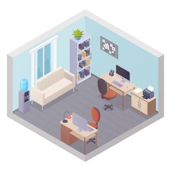 Interior isométrico de la oficina con dos lugares de trabajo, mesa de refrigerador de gabinete con impresora y sofá para v